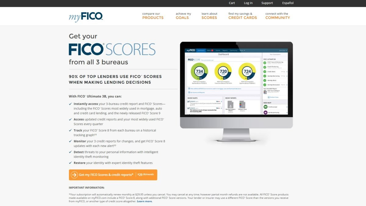 Screenshot of MyFICO.com