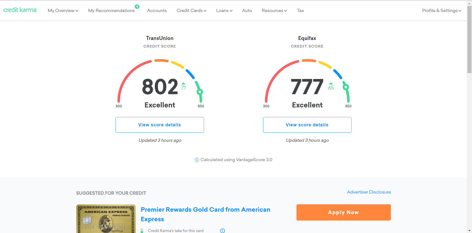 Credit Karma dashboard