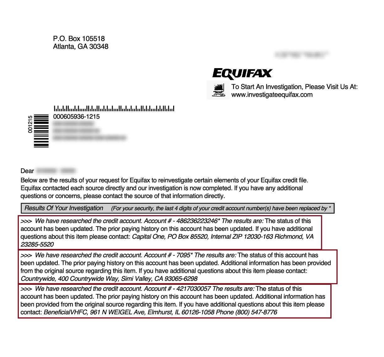 late payments removed from Equifax
