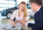 woman financing a car